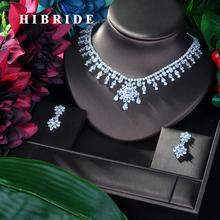 HIBRIDE luksusowe kobiety biżuteria ślubna zestaw AAA + cyrkonia 2 sztuk naszyjnik zestaw kolczyków nowy kwiat projekt dla nowożeńców cyrkonia zestaw N-96 tanie tanio Moda Zestawy biżuterii Miedzi Naszyjnik kolczyki TRENDY Rocznica 1 pcs Necklace+1 pair Earring PLANT Lead Nickel Free