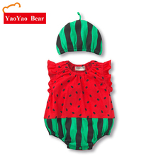 Baby Girl Jumpsuit Newborn Clothes YAOYAO BEAR BRAND Baby Rompers Girls Boys Short Sleeve Cotton Baby Girl Watermelon Romper+hat