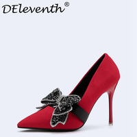 2018 Fashion Delicate Sweet Bowknot Stiletto High Heel Shoes Pointed Toe Night Club Wedding Party Women