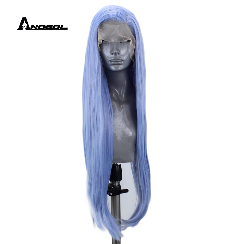 Anogol High Temperature Fiber Brazilian Hair Peruca Blue Long Natural Straight Synthetic Lace Front Wig Side Part Black Women