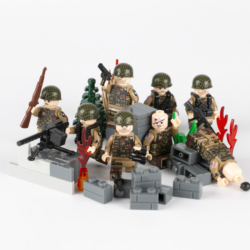 MOC WW2 City Accessories Building Blocks Soldiers Military Figures Guns Weapons US Army 101 Airborne Division Bricks Kids C076