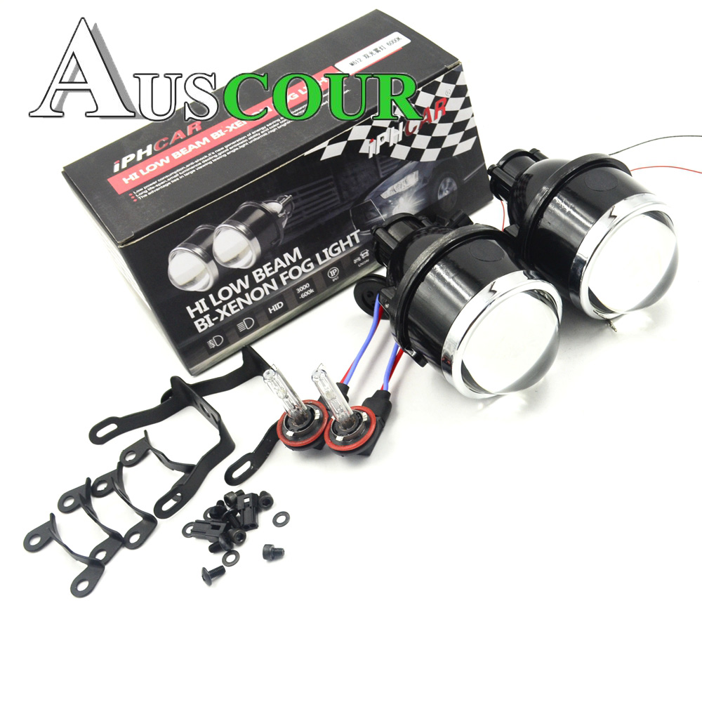 цена на 3.0 inch h11 fog bixenon hid car projector lens 2.5 inch and 3.0 inch with 6000k h11 xenon bulb retrofit dit high and low lens
