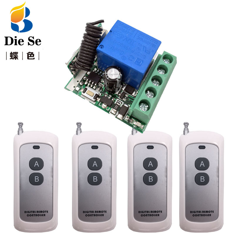 RF Switch Remote Control DC 12V 1CH Relay Receiver and Transmitter for Universal Garage Control and Home appliance Control image