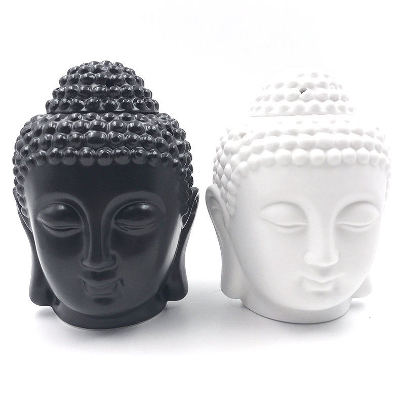 Aromatherapy Oil Burner Buddha Head Aroma Oil Station Ceramic Temple India Incense Black White Buddha Incense S $