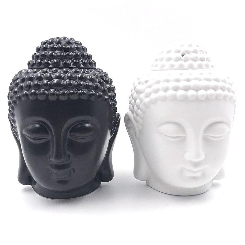 Stazione di Olio Aroma Aromatherapy Oil Burner Testa di Buddha In Ceramica Tempio India Incenso Nero Bianco Buddha Incenso S $