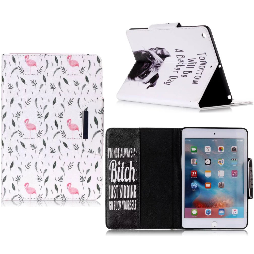 Fashion Painted With Stand Flip PU Leather For iPad Air 2 Funda Case For Apple iPad Air 2 iPad 6 iPad6 Smart Case Cover Capa