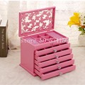 pink Wood Jewelry Box Storage Gift Display Box Jewelry Lagre Gift Box Packaging casket marriage holiday gift box