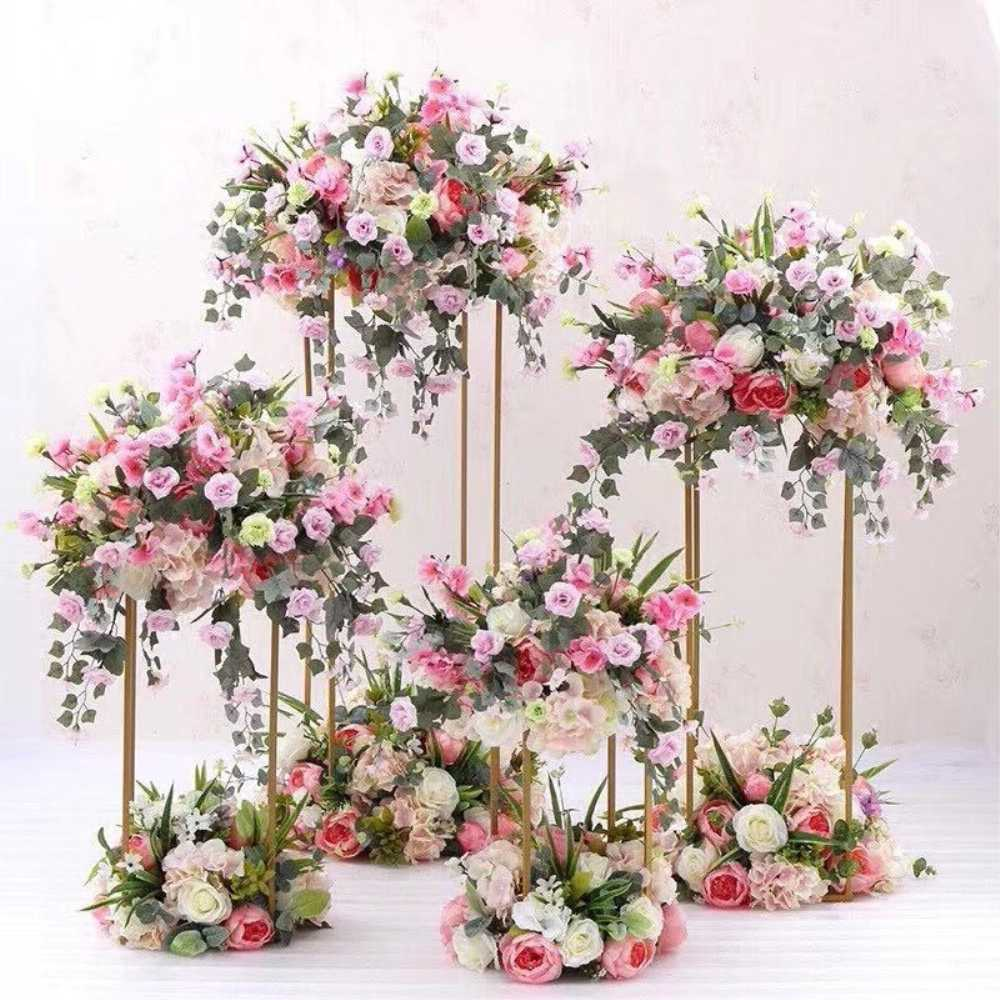 10PCS Floor Vases Gold Flower Vase Column Stand Metal Road Lead Wedding Centerpieces Rack Event Party Christmas Decoration