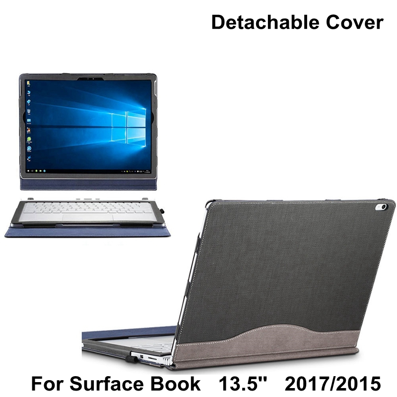 2017 Detachable Cover For Microsoft Surface Book 13.5'' Tablet Laptop Sleeve Case PU Leather Protective Skin +film Gift for microsoft surface book 13 5 sleeve bag embossed crocodile genuine leather detachable flip case black skin for surface book