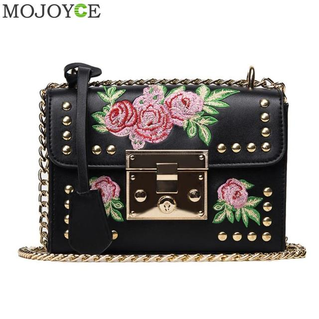 Women Embroidery Flower Bag Fashion Flap Rivet PU Leather Messenger Bag Sling Small Shoulder Bags Crossbody Messenger Bags