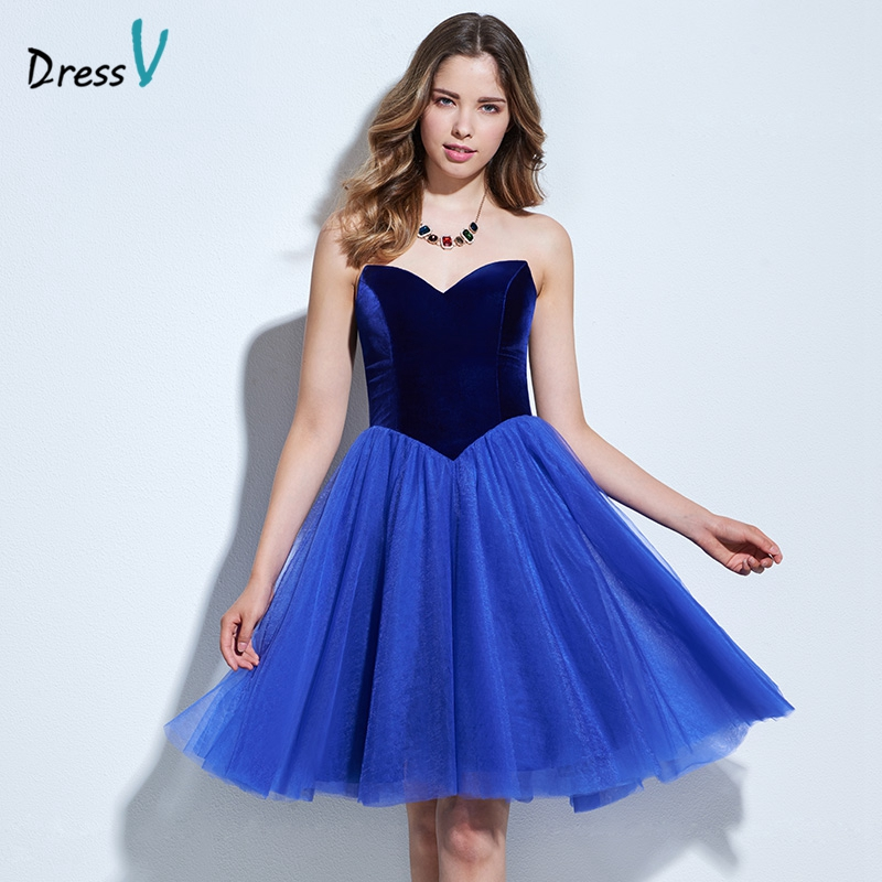 Dressv Blue A Line Ruched Cocktail Dress Sweetheart Sleeveless Off The Shoulder Knee Length Cocktail