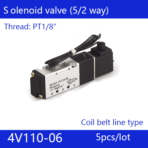 5pcs free Shipping 2 Position 5 Port Air Solenoid Valves 4V110-06 Pneumatic Control Valve ,Coil belt line type,DC12V 24V AC220V free shipping solenoid valve with lead wire 3 way 1 8 pneumatic air solenoid control valve 3v110 06 voltage optional