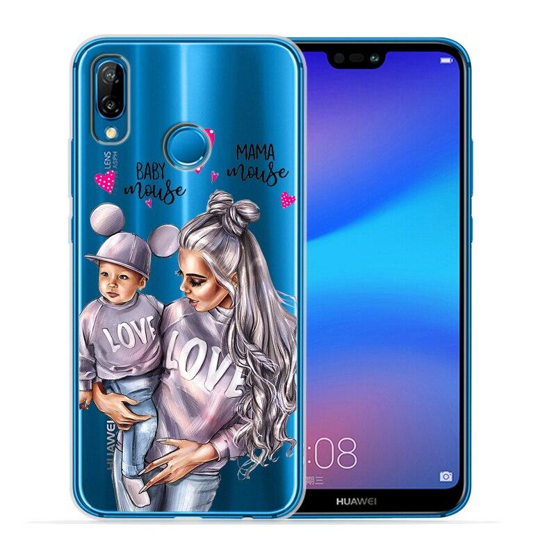 Чехол для телефона с черными и коричневыми волосами для мамы и дочки Huawei P30 Lite P30 Pro P20 Lite P8Lite P9Lite P10 P Smart Capa - Цвет: 13