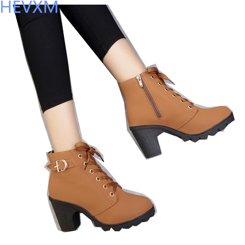 HEVXM 2017 New Autumn Winter Women Boots High Quality Solid Lace-up European Ladies shoes PU Leather Fashion Boots Free Shipping 2016 new arrive high quality soft leather women s ankle boots lace up autumn winter ladies riding boots casual shoes