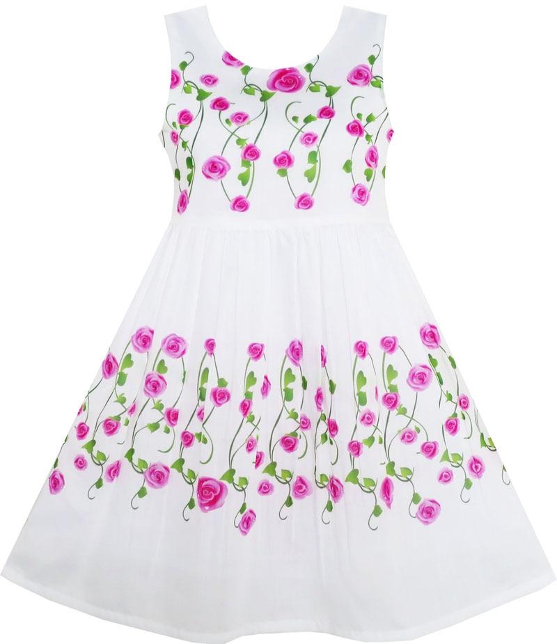 Sunny Fashion Girls Dress O-Neck Rose Flowers Heart-shaped Green Leaves 2018 Summer Princess Wedding Party Dresses Size 4-10 женское платье summer dress 2015cute o women dress