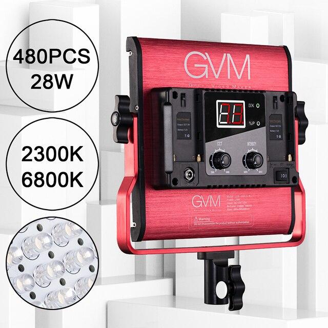 GVM 480LS 29W LED Video Panel Light 480 CRI97+ LED Beads Dimmable 2300~6800K Studio Photography Shooting Lighting