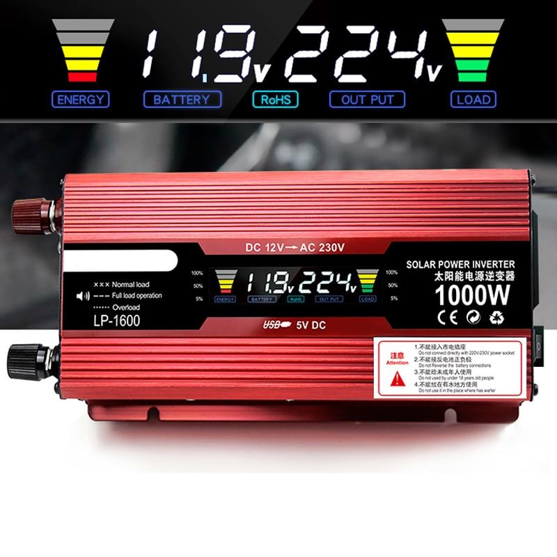 Автомобильный инвертор DC12V 220 В 2000 Вт 1000 Вт Мощность USB Инвертор светодио дный Дисплей Зарядное устройство конвертер адаптер для дома автомо...