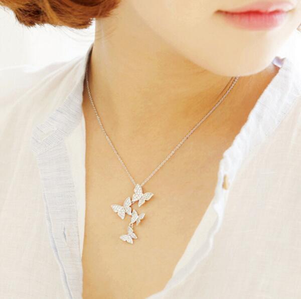 Jisensp Nueva Llegada Múltiples Circón Mariposa Collares y Colgantes para Las Mujeres Joyería CZ Collar Gargantillas Boda SYXL051