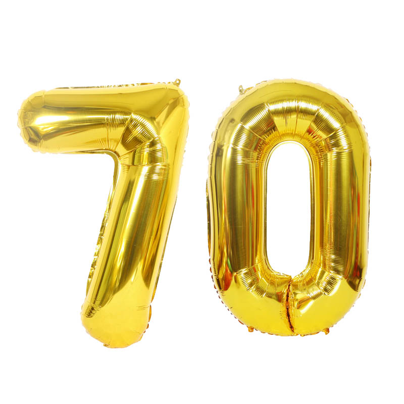 2pcs 32 Or 40 inch Happy 70 <font><b>Birthday</b></font> Foil Balloons gold pink blue number <font><b>70th</b></font> Years Old Party Decorations Man Boy Girl Supplies image