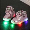 Новые 2016 Детей Повседневная Shoes Hook Loop LED Shoes Освещенные Дети Кроссовки Детей Shoes Led Кроссовки Мальчики Девочки Kitty Shoes