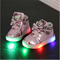 New 2016Children  Casual  Shoes Hook Loop LED Shoes Lighted Kids Sneakers Children Shoes Led Sneakers Boys Girls Kitty Shoes