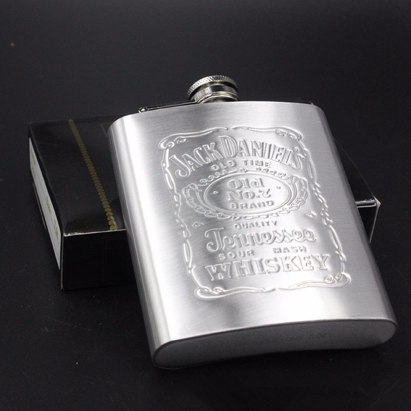 Portable Stainless Steel Hip Flask 7oz Embossed Flagon Flasks Russian Wine Beer Whiskey Bottle Alcohol Drinkware