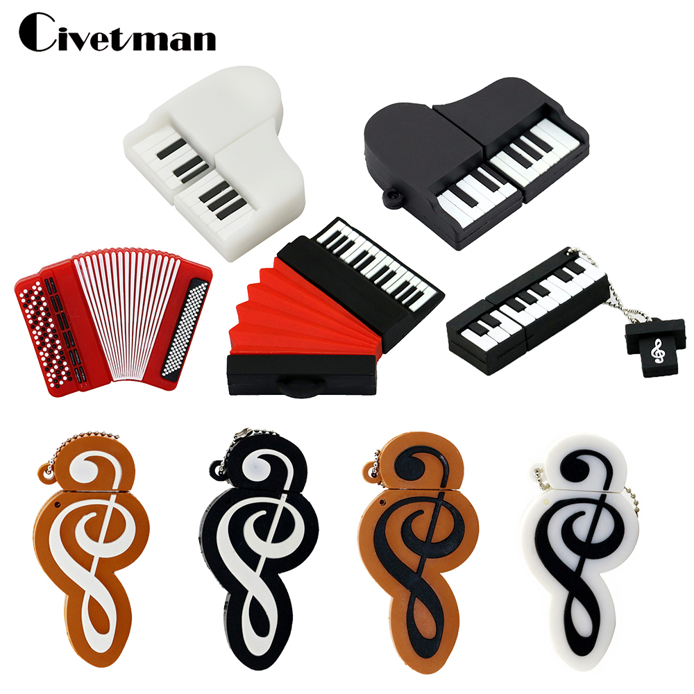 Pen Drive Cartoon Instruments Πιάνο USB Flash Drive Χαριτωμένα μουσικά σημειώματα USB Flash 8GB 16GB 32GB 64GB 128GB Memory Stick Pendrive