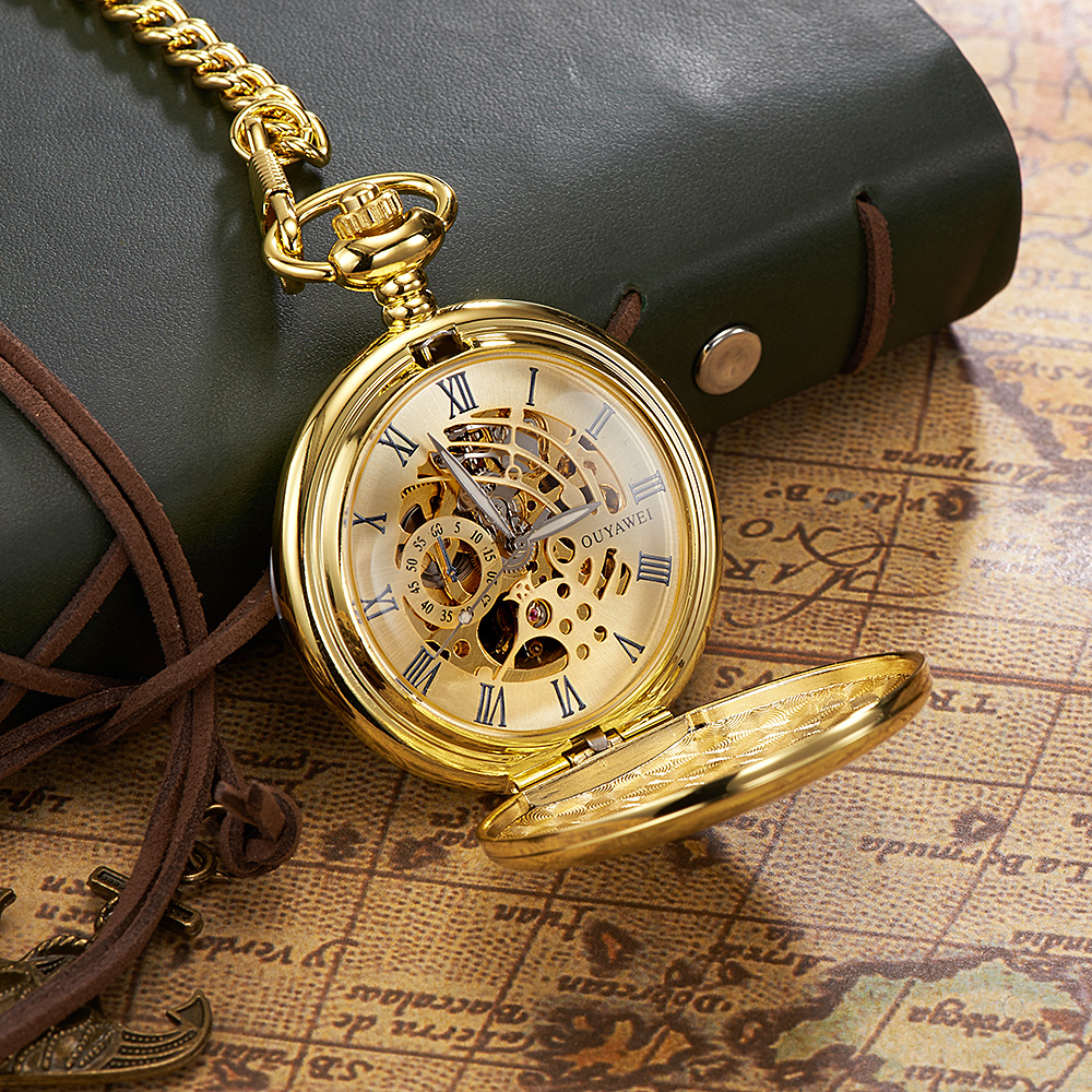 Luxury Brand Fashion OYW Pocket Watch Mechanical Hand Wind Watch Men Full Steel Case Relogio Man Pocket Fob Watch Analog Clock