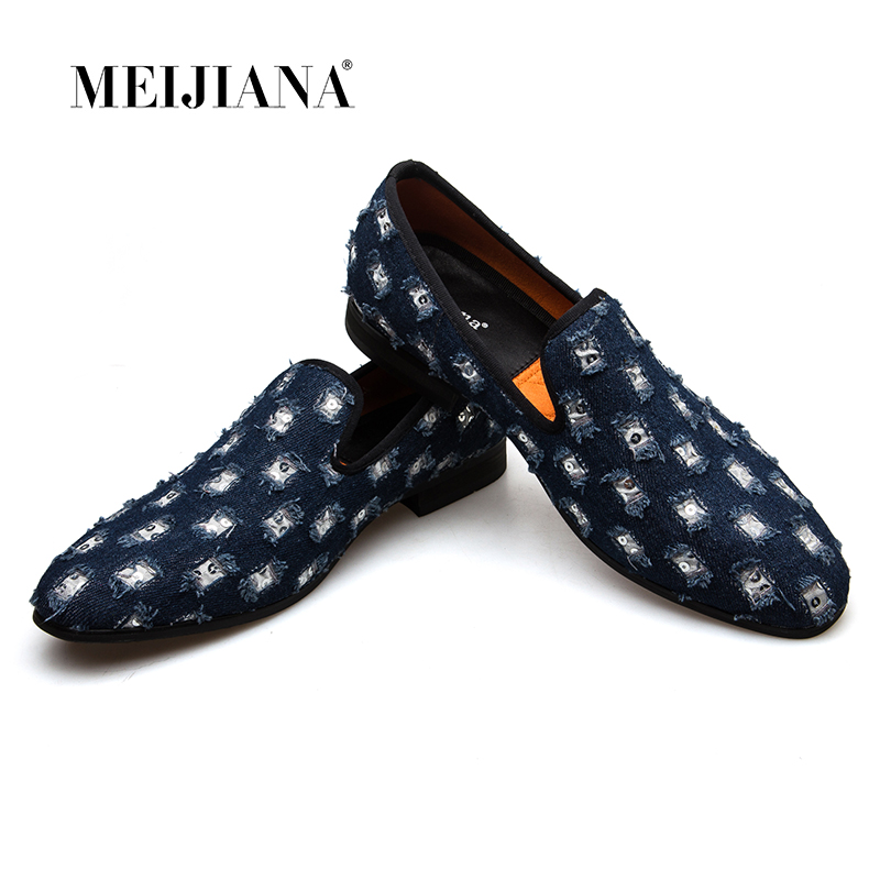 MEIJIANA 2018 New Brand Mens Loafers Luxury Shoes With Denim And Metal Sequins High Quality Casual Men ShoesMEIJIANA 2018 New Brand Mens Loafers Luxury Shoes With Denim And Metal Sequins High Quality Casual Men Shoes