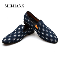 MEIJIANA 2019 New Brand Mens Loafers Luxury Shoes With Denim And Metal Sequins High Quality Casual Men Shoes