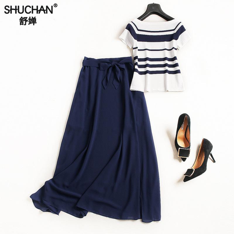 Здесь продается  SHUCHAN Knitted Slash Neck Off Shoulder Top+chiffon Side Split Skirt Women
