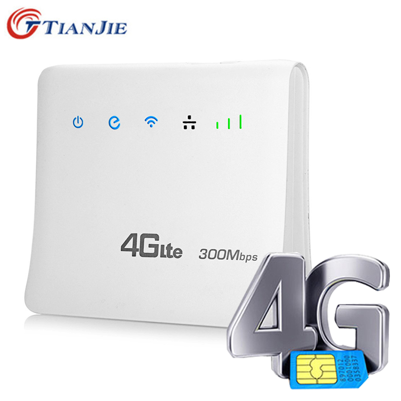 TIANJIE Unlocked 300Mbps 4G LTE CPE Mobile WIFI Router with LAN Port Support SIM card Portable Wireless Router 300mbps unlocked 4g lte cpe wireless router support sim card 4pcs antenna with lan port support up to 32 wifi users wps function