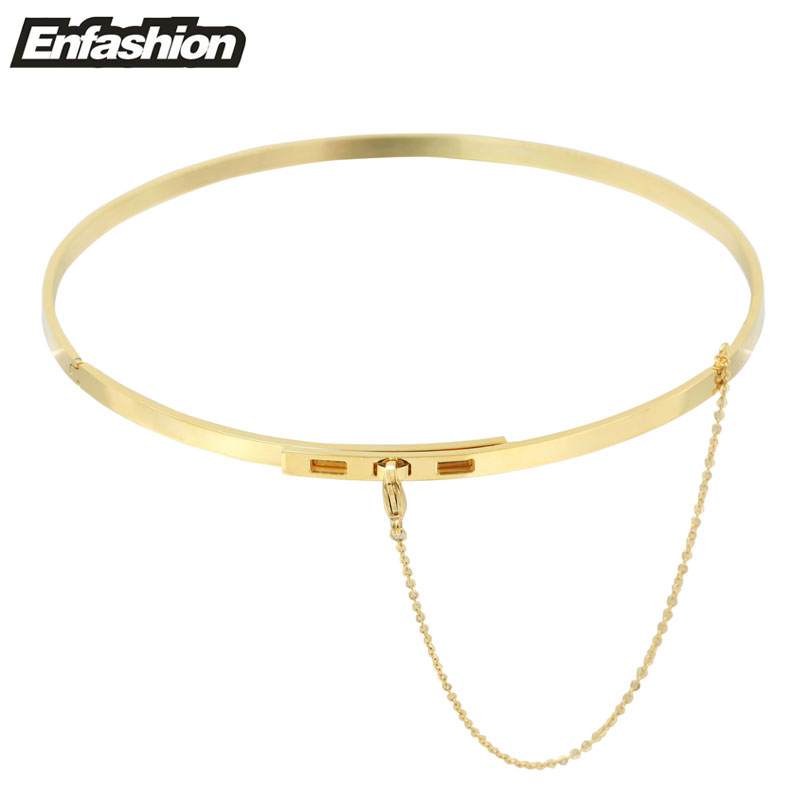 Enfashion Safety Chain Chokers Necklaces Pendants Gold Color Necklace Stainless Steel Choker Necklace For Women Jewelry