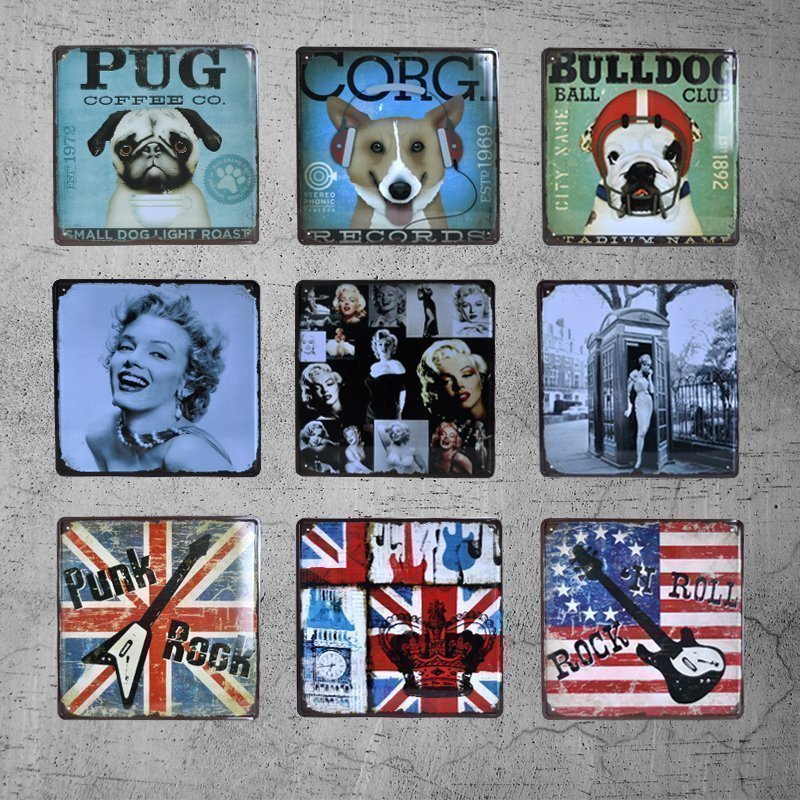 vintage dog cat metal tin signs license plate painting retro iron plaque bar garage home wall. Black Bedroom Furniture Sets. Home Design Ideas