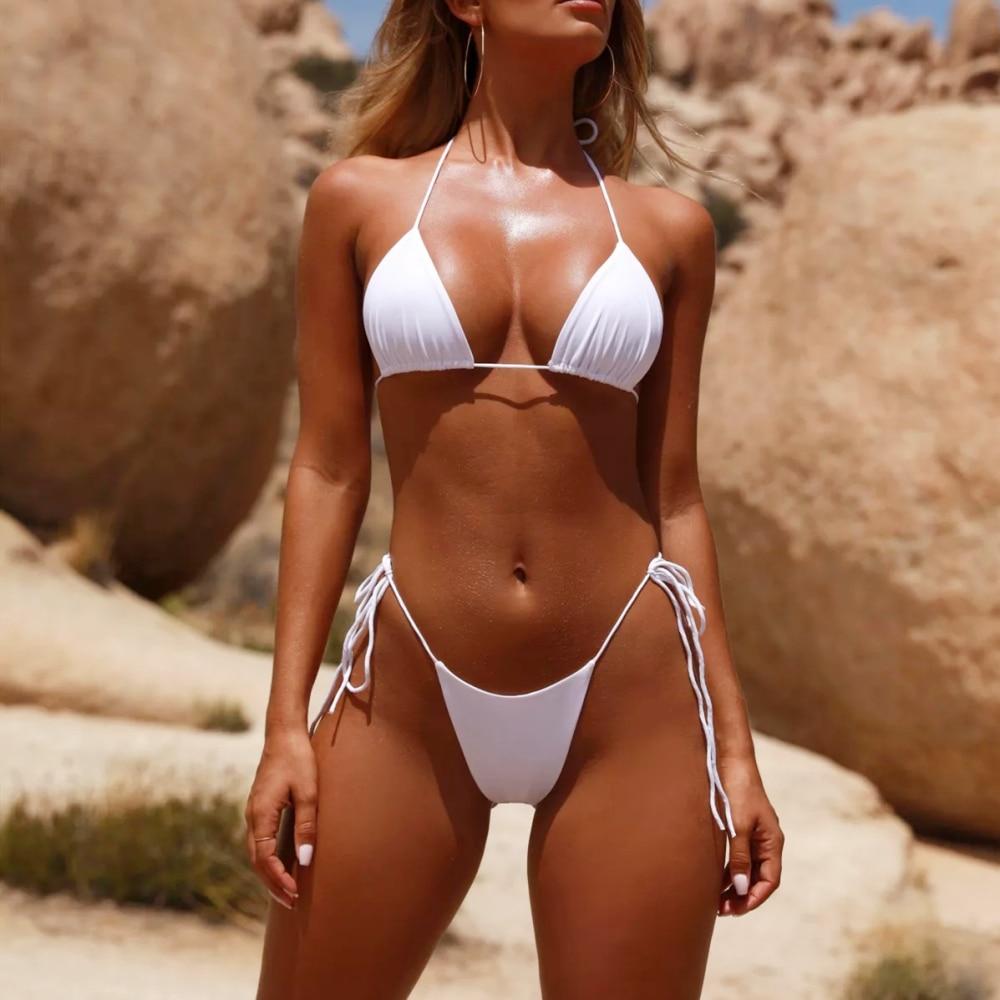 BAICANADEAN Bikini Set Strap Halter Swimwear Women Solid Bandage Swimsuit Sexy Thong Bathing Suits New 2019 Summer Bikinis