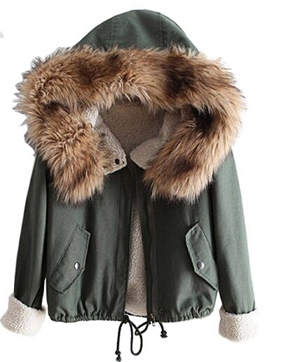 2017 New Fashion Women Winter Army Green Faux Fur Collar Outwear Jacket Coats