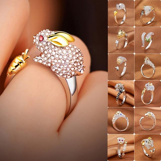 925 כסף קריסטל יפה כלב חזיר ארנב קוף משובץ צורת בעלי החיים טבעות נשים ילדה פתיחת טבעת מסיבת חתונת תכשיטים