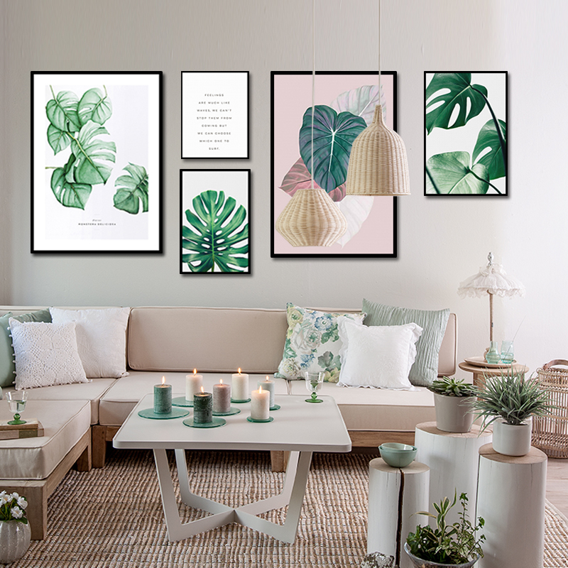 Unframed Multiple Pieces HD Canvas Portraits Nordic Plant Leaves And Text Decorative Paintings Living Room Mural Free Shipping