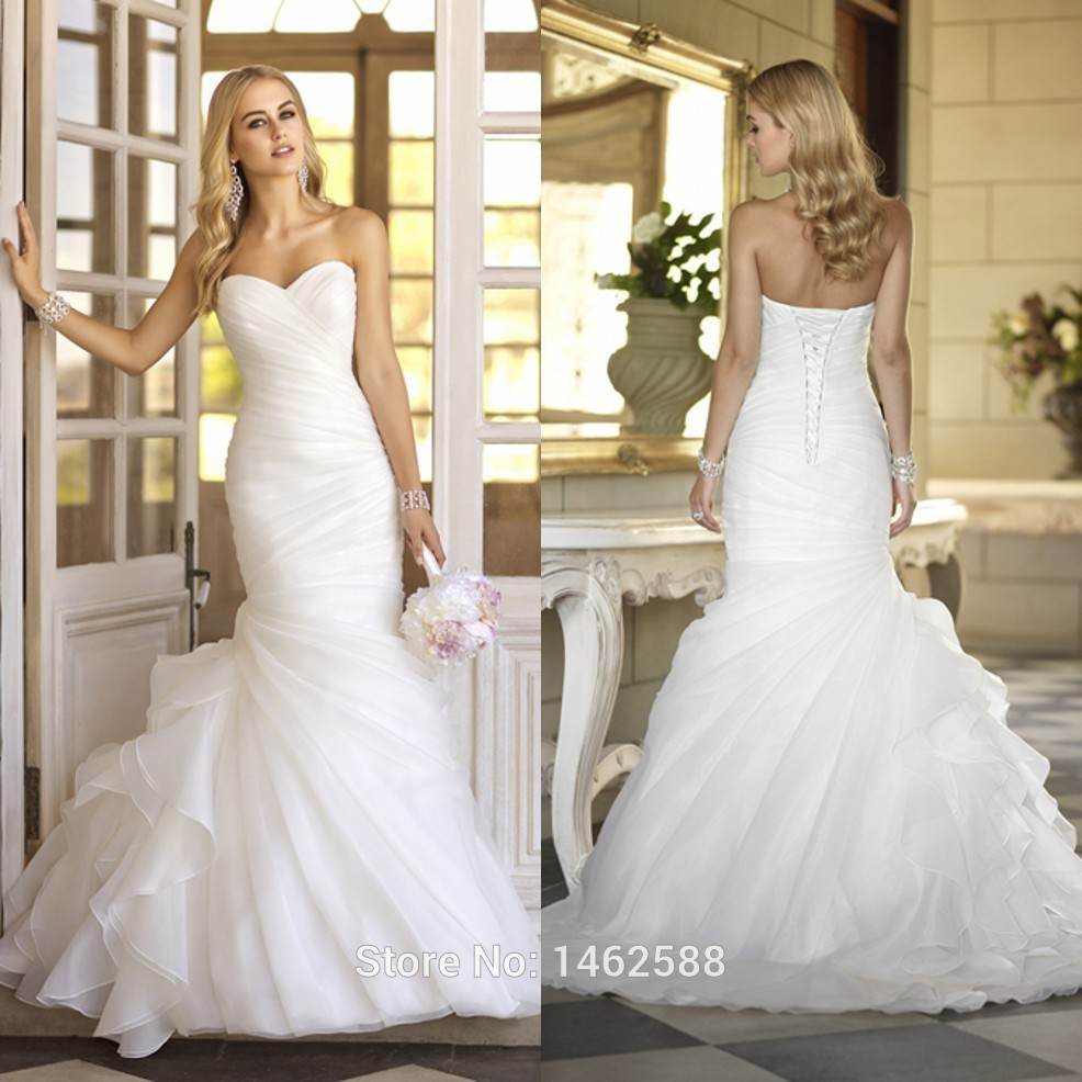 Modern style pleated sweetheart organza ruffles white for Chic modern wedding dresses