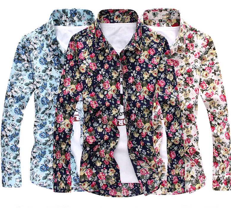 Aliexpress.com : Buy 2015 Men Shirts Floral Print Long Sleeve ...