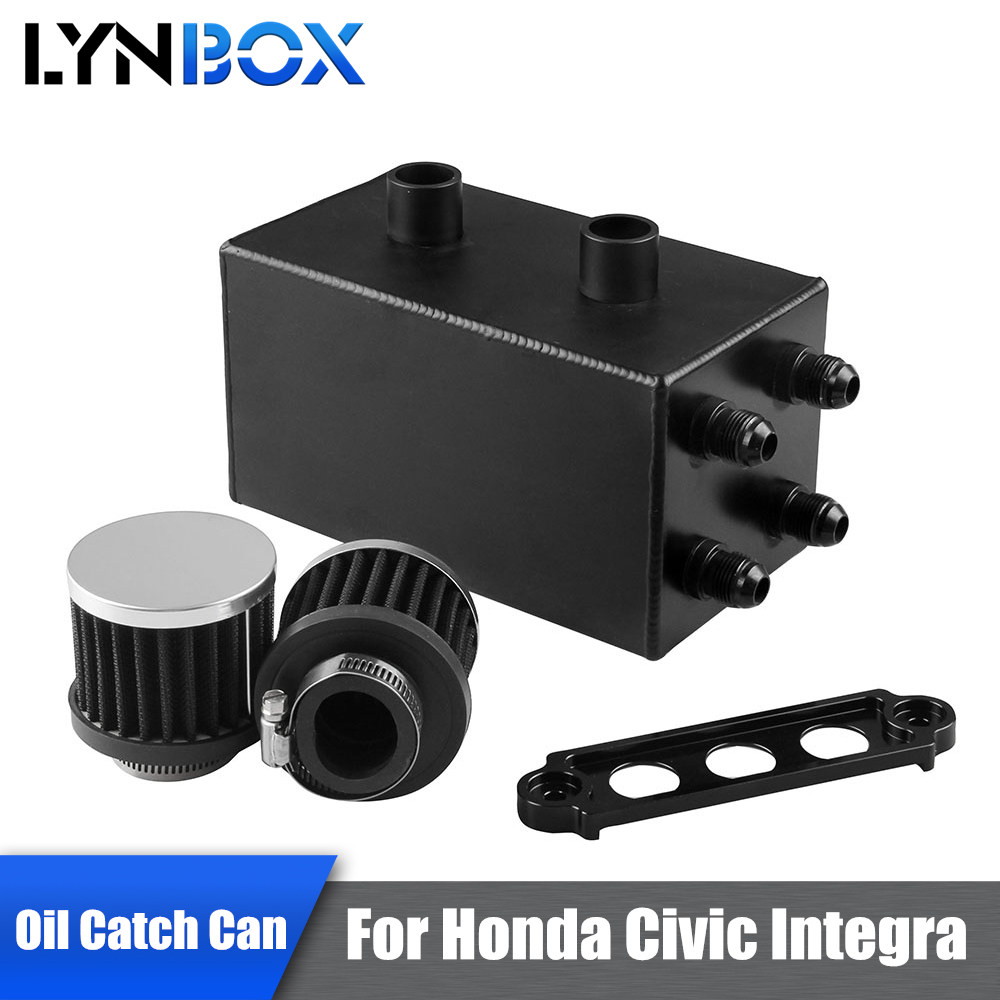 For Honda Civic Integra EK EG DC EP-YX001-AF Cars 4 Ports Series Oil Catch Can Kit Turbo Black Color Breather Tank With Filters цены онлайн