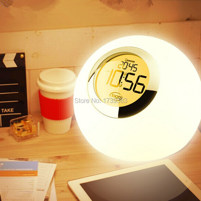 Free shipping Magic LED Alarm Clock Night Light Color Changing horloge reloj despertador multicolor led clock table lamp alluminum alloy magic folding table bronze color magic tricks illusions stage mentalism necessity for magician accessories