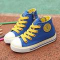 Children shoes девушки кроссовки 2017 Весна Осень Конфеты цвет Шнуровке Ребенок холст shoes Мальчики Высокий Белый Kids shoes для девочек