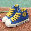 Crianças shoes meninas sapatilha 2017 cores doces primavera outono lace-up sapatas de lona criança shoes meninos alta branco crianças shoes para as meninas