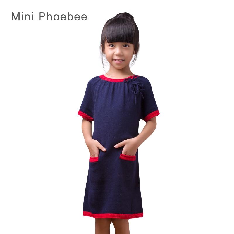 ФОТО kids sweater dresses for girls 2-8years girls sweaters long blue dress autumn Short sleeve Blue girl's kids dress brand phoebee