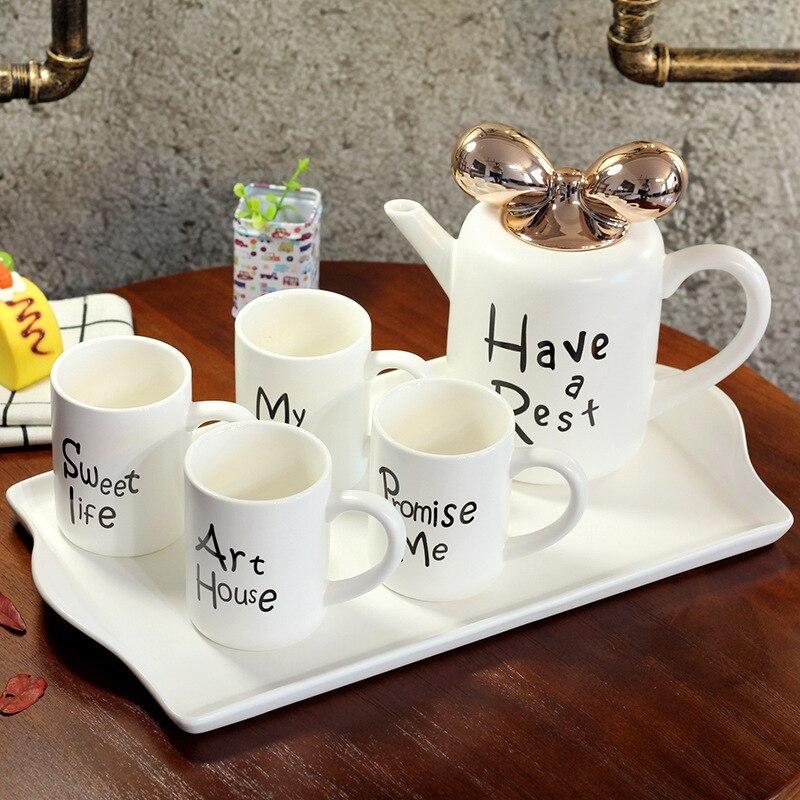 5 stks/set Europese Stijl Keramische Mokken Porselein Koffie Mokken Cups met Thee Pot Tuimelaars met Lade Cf651 - 2