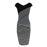 Fashion Design Women S Bodycon Casual Short Sleeve Top Striped Pencil Midi Dresses Summer Dress