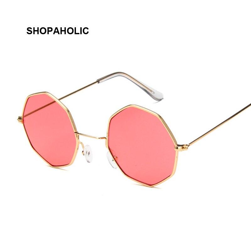 Lunettes de soleil de luxe pour femmes, de marque du styliste oculos De Solen en forme octogonale et de couleur jaune ou rouge en miroir et de style rétro