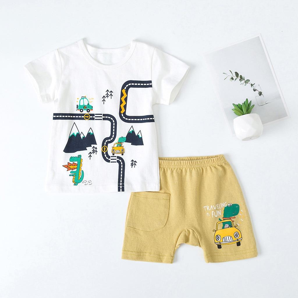 Summer Clothing-Set Shorts Print Baby Boys Kids Cartoon Tops Roupa-De-Menino