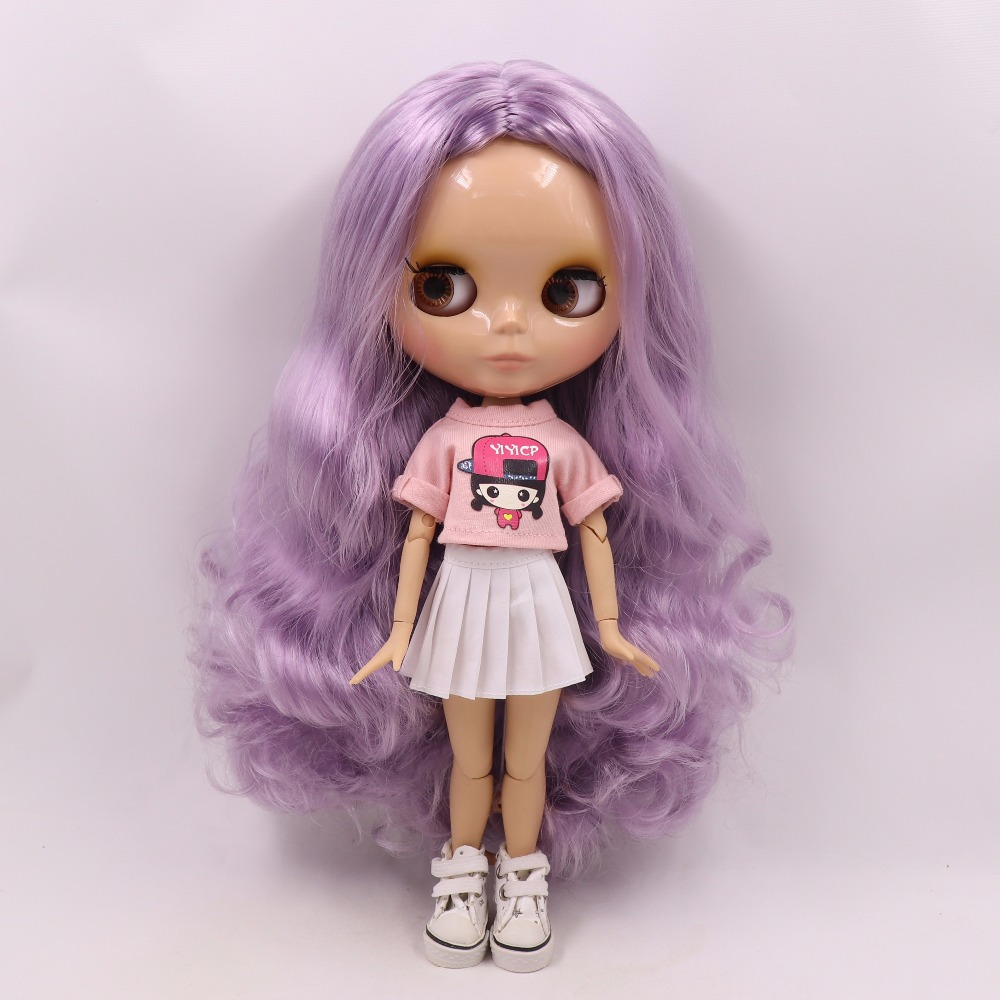 Neo Blythe Doll with Purple Hair, Tan Skin, Shiny Face & Jointed Body 2